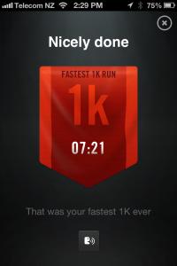 Fastest 1km 12.01.2013