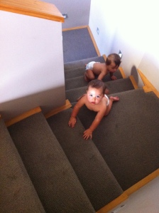 Twins Race up Grandma's Stairs