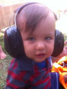Grayson in earmuffs