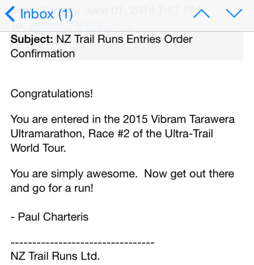 Tarawera Relay Confirmation